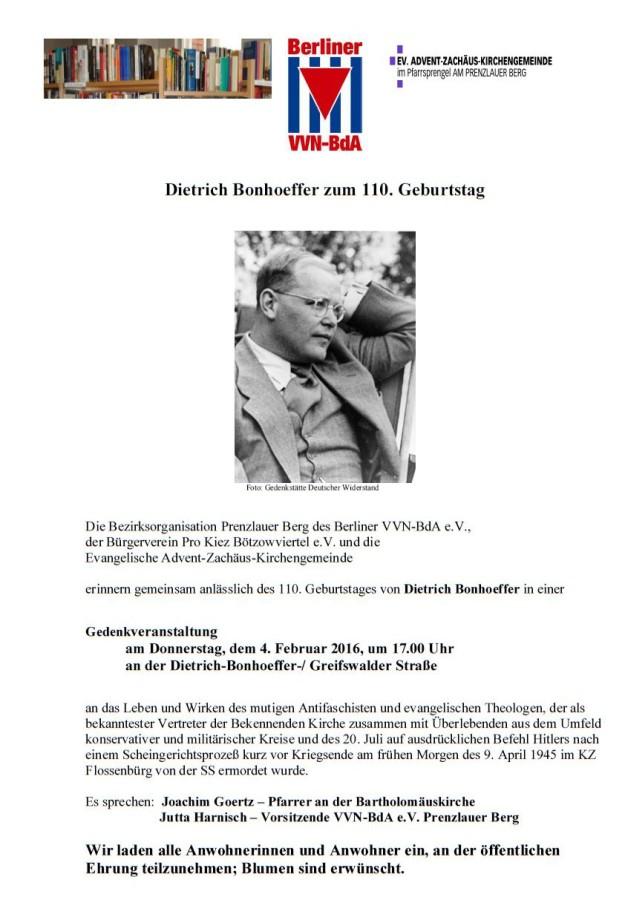 Gedenken Bonhoeffer